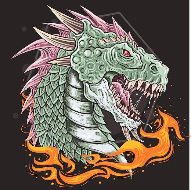 Vecteur de bête de tête de dragon Vecteur Premium