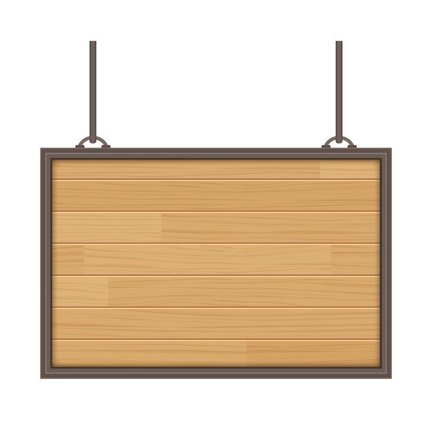 Vecteur en bois signe isolé sur fond blanc Vecteur Premium
