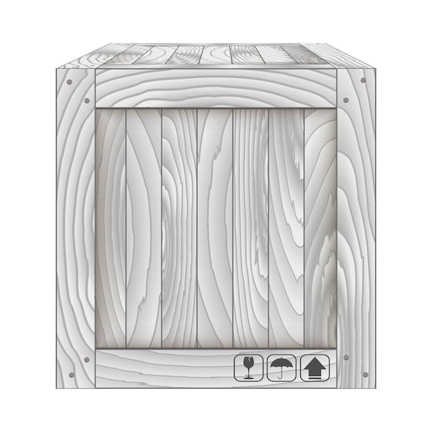 Vecteur de boîte en bois gris sur blanc Vecteur Premium