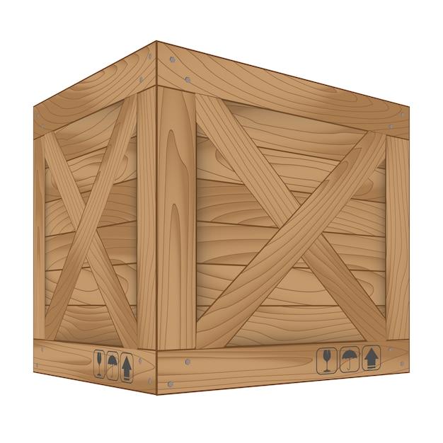 Vecteur de boîte en bois marron sur blanc Vecteur Premium