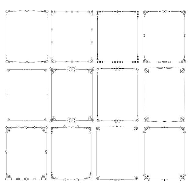 Vecteur de bordures de cadre élégant classique rétro défini pour la conception d'invitation Vecteur Premium