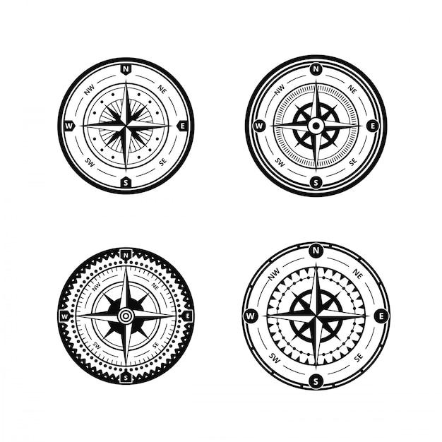 Vecteur de boussole nautique Vecteur Premium