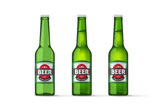 Vecteur De Bouteilles De Bière Isolé Vecteur Premium