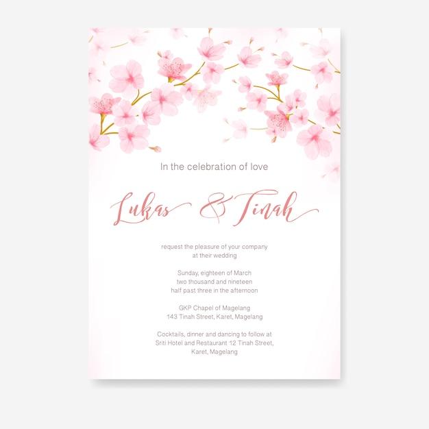 Vecteur de cadre aquarelle floral fleur de cerisier Vecteur Premium