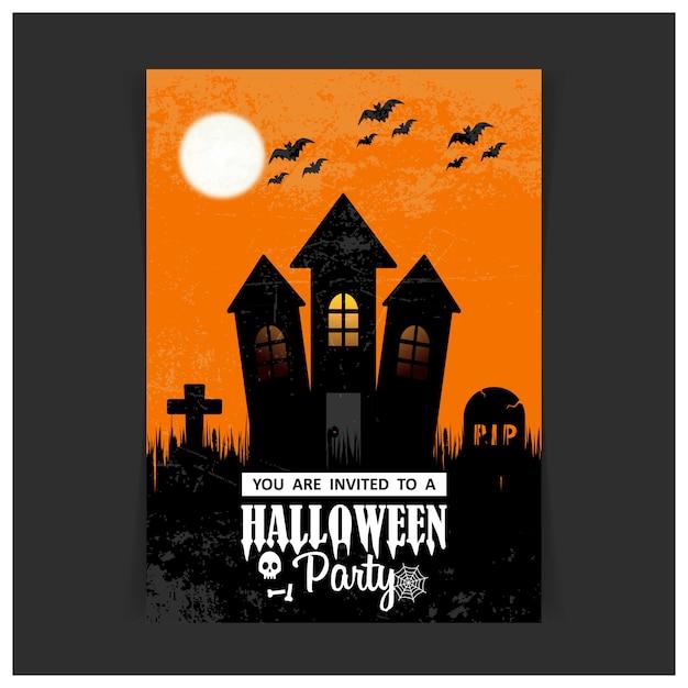 Vecteur de carte de conception invitation fête halloween Vecteur gratuit