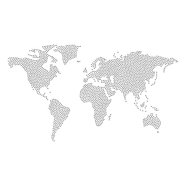 Vecteur de carte du monde en pointillé Vecteur Premium