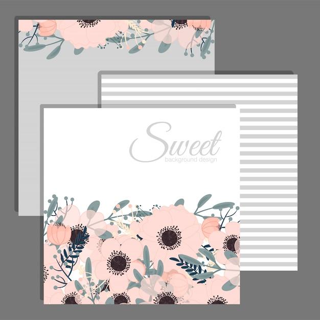 Vecteur de carte élégante invitation de mariage floral Vecteur Premium