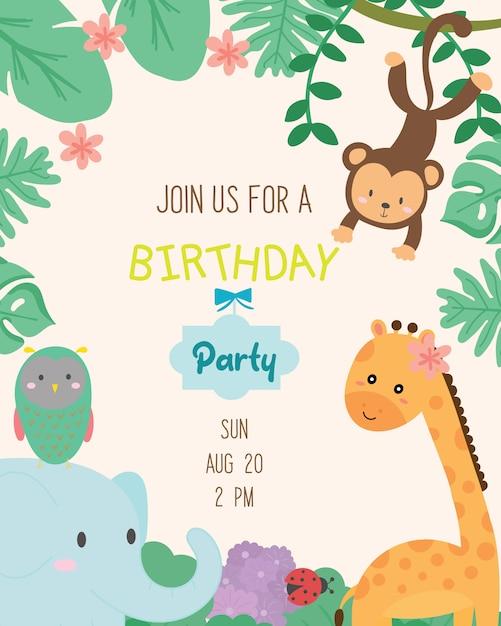 Vecteur de carte d'invitation de fête d'anniversaire mignon thème animal. Vecteur Premium