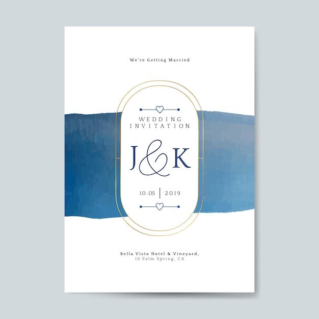 Vecteur de carte invitation mariage bleu Vecteur gratuit
