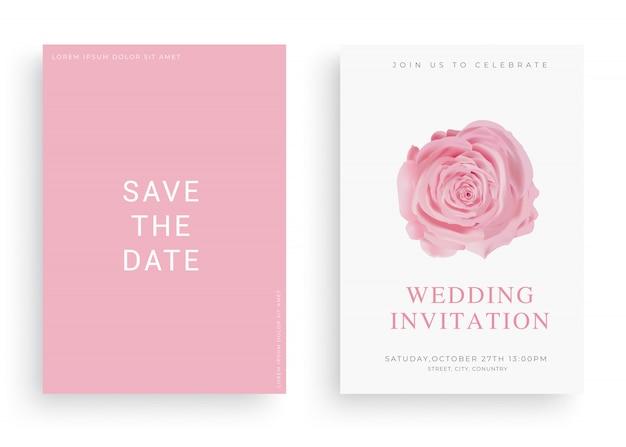 Vecteur de carte invitation mariage élégant avec duvet Vecteur Premium