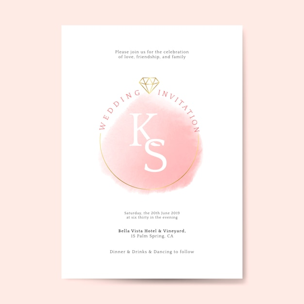 Vecteur de carte invitation mariage rose Vecteur gratuit