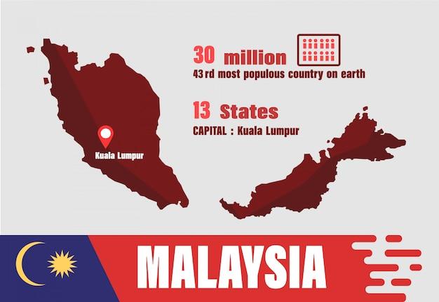 Carte Du Monde Kuala Lumpur.Vecteur De Carte De Malaisie Nombre De Population Et Geographie Du