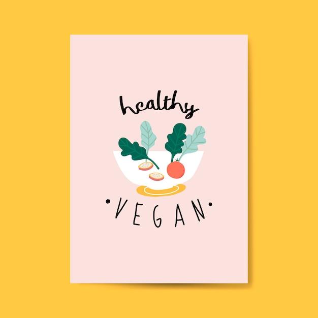 Vecteur de carte salade végétalienne saine Vecteur gratuit
