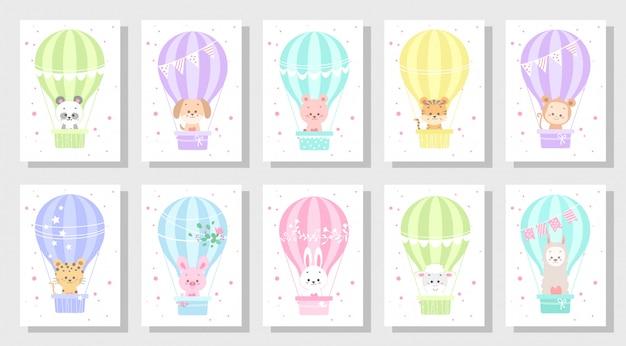 Vecteur de carte de voeux enfants mignons ensemble bundle Vecteur Premium
