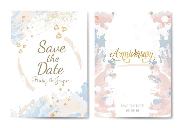 Vecteur de cartes anniversaire mariage et pastel Vecteur gratuit