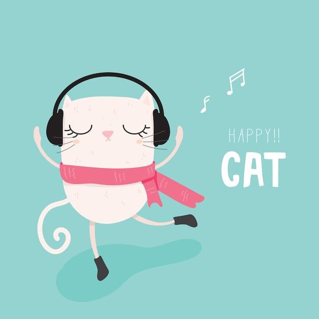 Vecteur de chat heureux Vecteur Premium