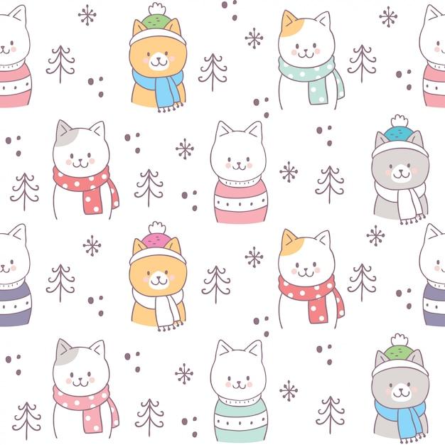 Vecteur de chats hiver mignon modèle sans couture. Vecteur Premium