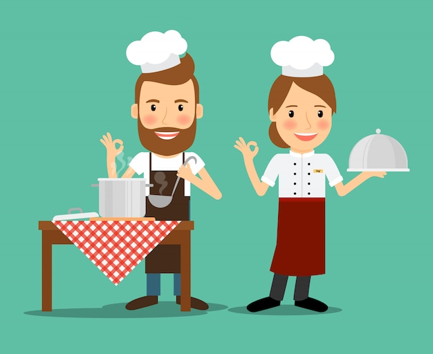 Vecteur de chefs culinaires Vecteur Premium