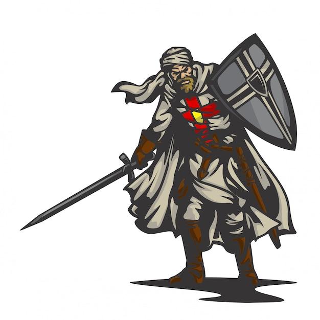 Vecteur de chevalier templier Vecteur Premium
