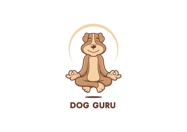 Vecteur de chien gourou mascotte logo Vecteur Premium