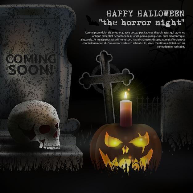 Vecteur de cimetière fantasmagorique d'halloween Vecteur Premium