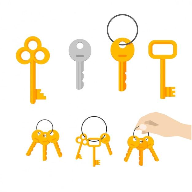 Vecteur de clés clés ou clé suspendue sur le vecteur de l'anneau mis plat dessin animé Vecteur Premium