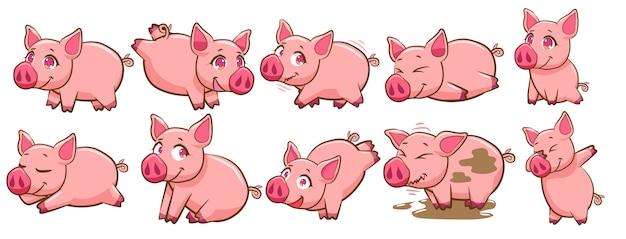 Vecteur De Cochon Set Clipart Vecteur Premium