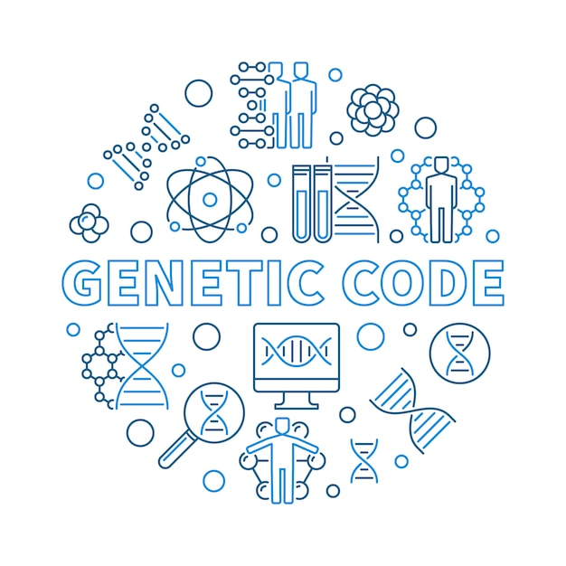 Vecteur de code génétique rond illustration de contour Vecteur Premium