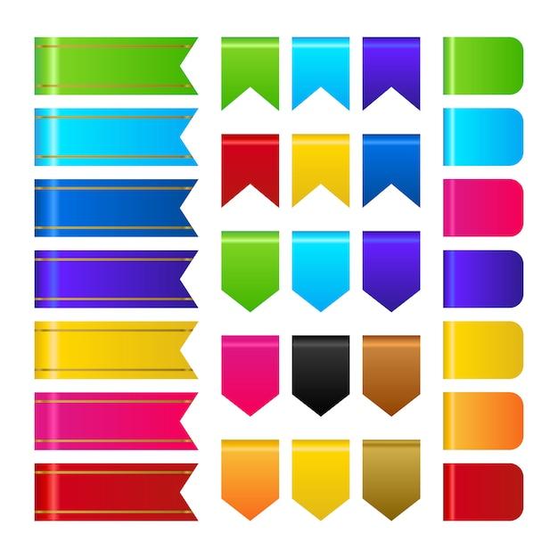 Vecteur de collection de rubans 3d muticolor Vecteur Premium