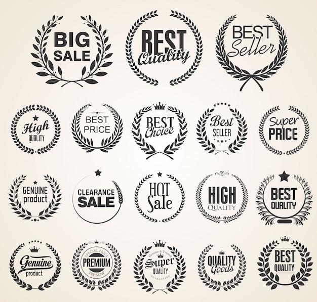 Vecteur de collection vente de couronnes de laurier vintage rétro Vecteur Premium