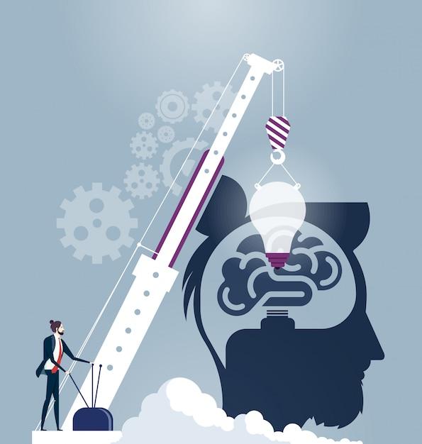 Vecteur de concept idée cerveau créatif Vecteur Premium