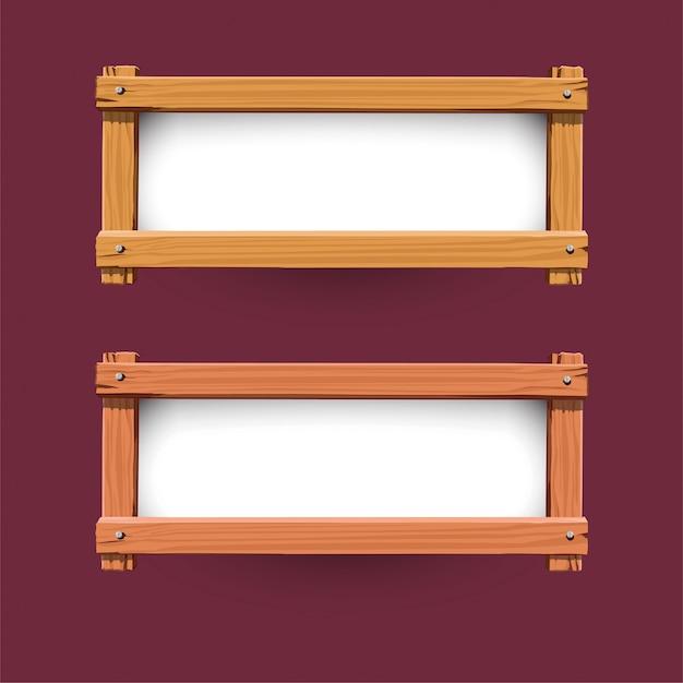 Vecteur de conception de bannière en bois Vecteur Premium