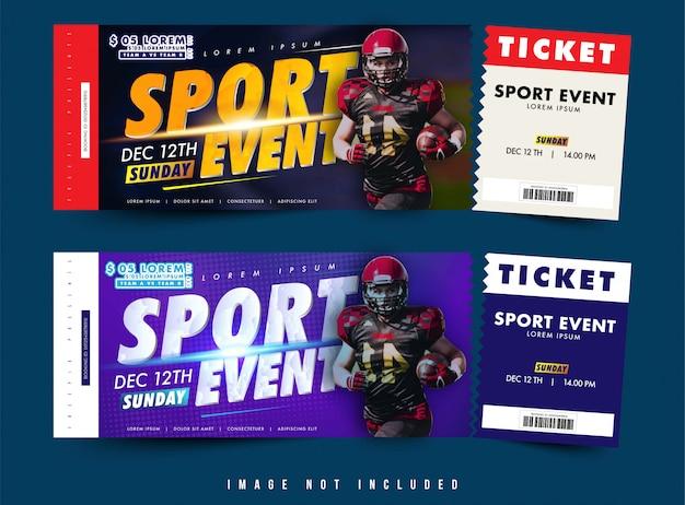 Vecteur de conception de billet ou bon de deux options, événement sportif avec thème avec mise en page simple Vecteur Premium