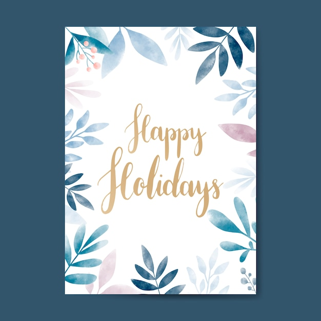 Vecteur de conception de carte aquarelle joyeuses fêtes Vecteur gratuit