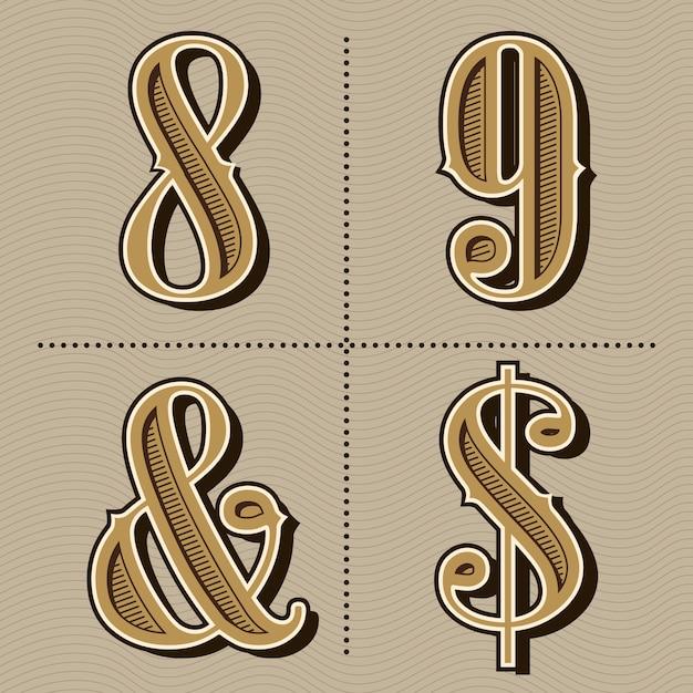 Vecteur de conception chiffres vintage alphabet occidental Vecteur Premium