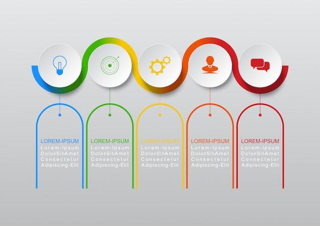 Vecteur de conception infographique les étapes ou processus de concept commercial peuvent être utilisés pour la mise en page de flux de travail, diagramme, rapport annuel, conception de sites web Vecteur Premium