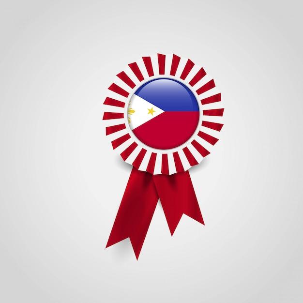 Vecteur de conception insigne drapeau des philippines Vecteur gratuit