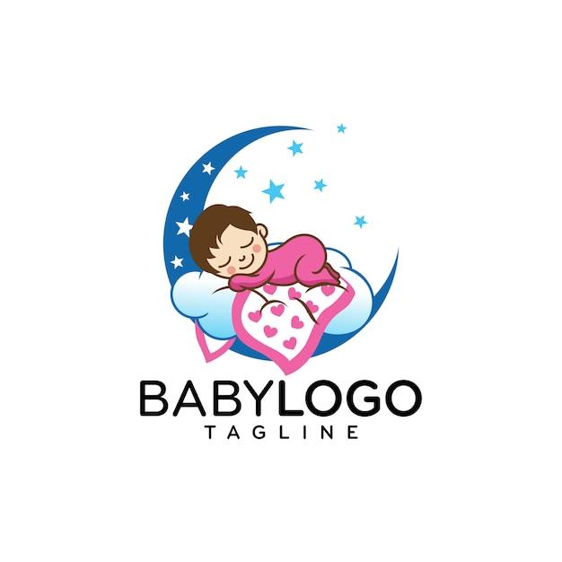 Vecteur de conception de logo bébé mignon Vecteur Premium