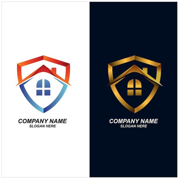 Vecteur De Conception De Logo De Bouclier De Maison Vecteur Premium
