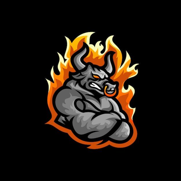 Vecteur de conception de logo bull Vecteur Premium