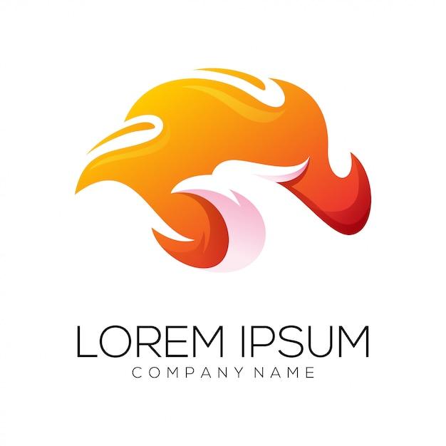 Vecteur de conception de logo eagle fire Vecteur Premium