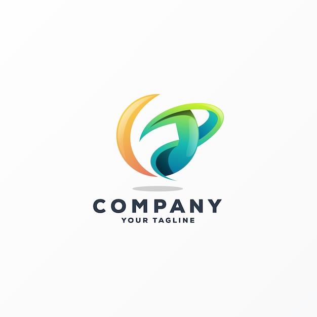 Vecteur de conception de logo génial f Vecteur Premium