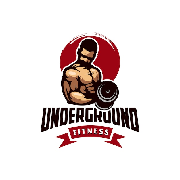 Vecteur De Conception Logo Génial Gym Muscle Vecteur Premium
