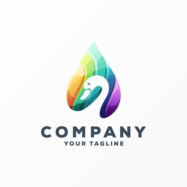 Vecteur de conception de logo génial oie Vecteur Premium