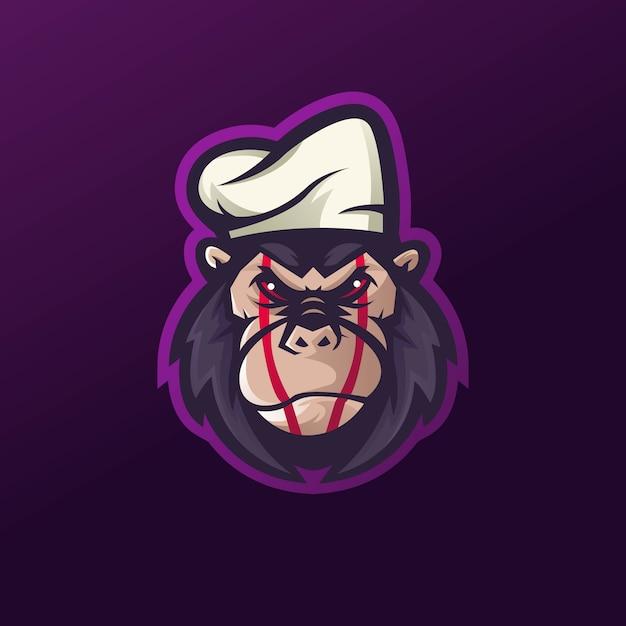 Vecteur De Conception De Logo De Mascotte De Gorille Avec Le Style De Concept D'illustration Moderne Pour L'impression De Badge, D'emblème Et De T-shirt. Vecteur Premium