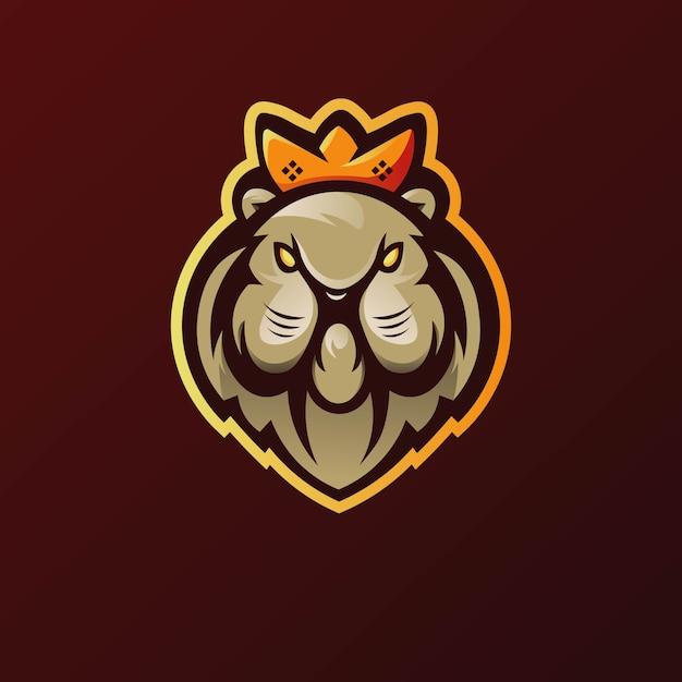 Vecteur De Conception De Logo De Mascotte De Lion Avec Le Style De Concept D'illustration Moderne Pour L'impression De Badge, D'emblème Et De T-shirt Vecteur Premium