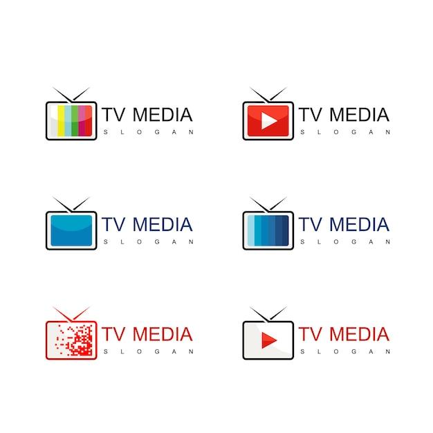 Vecteur de conception de logo de médias et de télévision Vecteur Premium