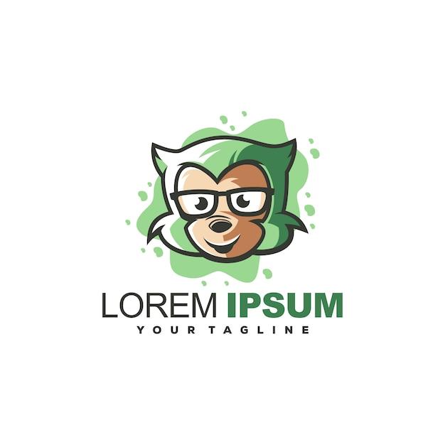 Vecteur De Conception De Logo Singe Génial Vecteur Premium