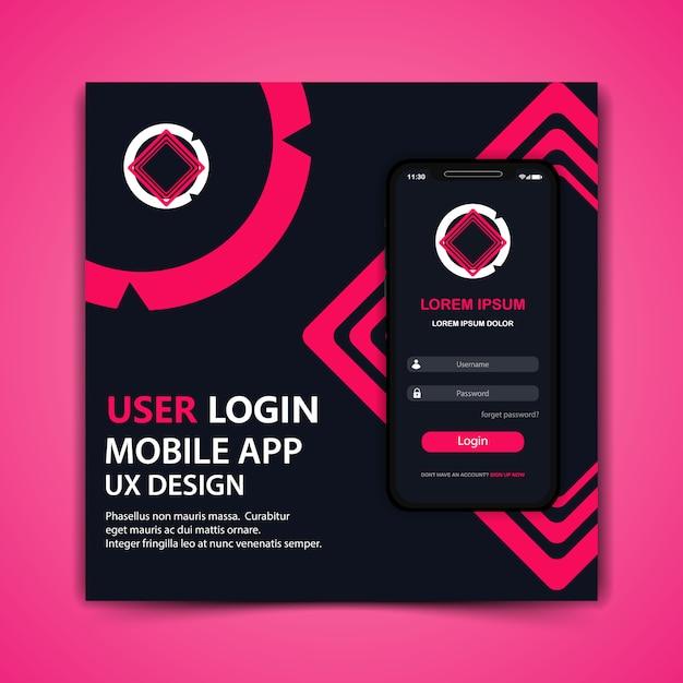 Vecteur De Conception De Modèle D'application De Connexion Utilisateur Mobile Vecteur Premium