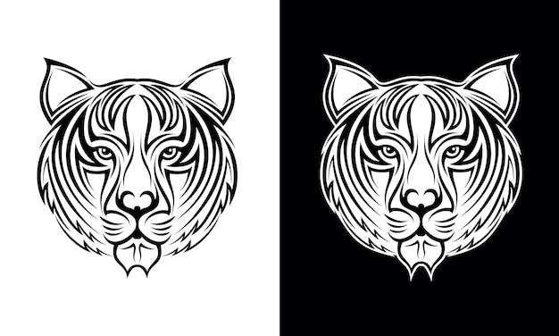 Vecteur de conception de tatouage tête de tigre dessiné à la main Vecteur Premium